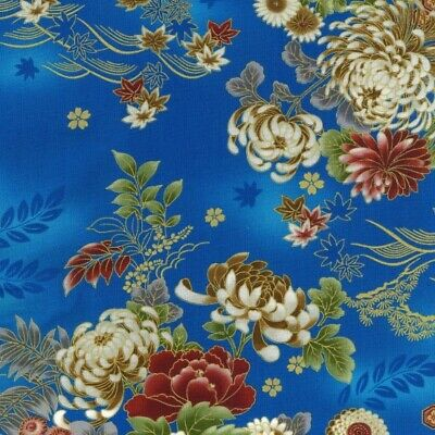£7.75 • Buy Japanese Fabric Kujo By Nutex 100% Cotton 112cm (44 ) Wide Floral Blue Metallic