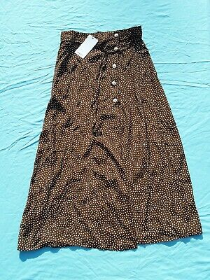 Ladies Mango Brown And White Polka Dot Wrap Midi Skirt Size Small New With Tags • 10£