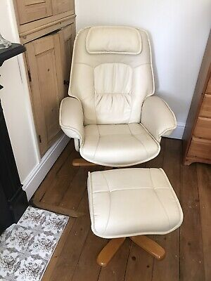TV Armchair Recliner Relax Swivel Chair Lounge With Foot Stool Reclining Cream • 50£