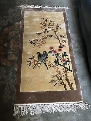 Vintage Chinese Silk Floral & Bird Design Rug / Wall Hanging 120 X 60 • 180£