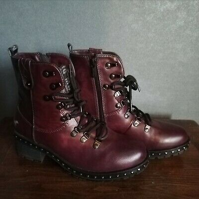 Ladies Burgundy Mustang Boots (worn Only Once) Size UK5 EU38  • 7.50£