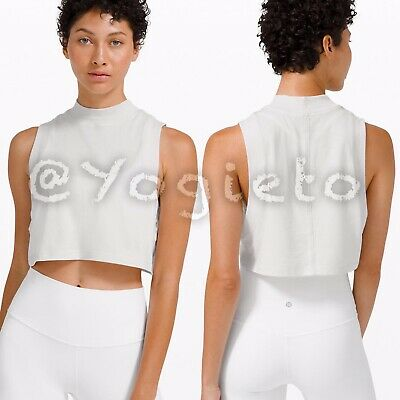 $ CDN77 • Buy Lululemon 🤍 All Yours Mock Neck Crop Tank NWT 4 Dune White Muscle Shirt Cropped