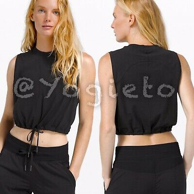 $ CDN85 • Buy Lululemon 🖤 Adapt To You Tank NWT 4 Black Run Cinch Waist Crew Muscle Shirt