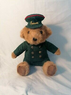 Harrods Teddy Bear Green Uniform Brown Fur Good Condition • 20£