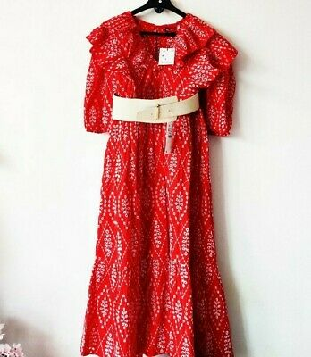 Zara Red Dress With Cutwork Embroidery Maxi V Neck Frilled Size L Uk 12  NEW • 19.99£