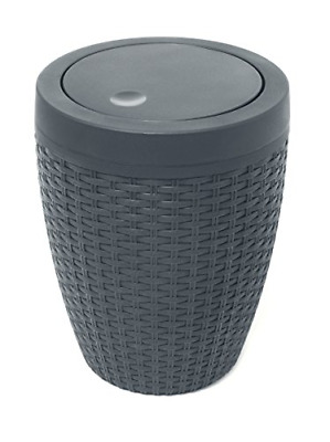 Addis Faux Rattan Round Swing Lid Bathroom Bin, Charcoal • 19.96£