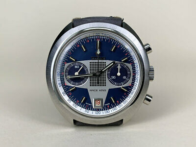 $ CDN3193.49 • Buy Vintage 1970s Titoni Race King Valjoux 7734 Chronograph Blue Dial Watch NOS