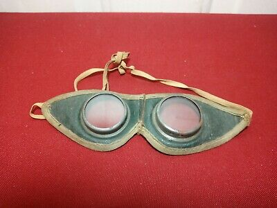 $5 • Buy Vintage Antique Leather Driving Goggles Motorcycle Chauffeur Steampunk