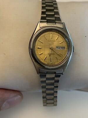 $ CDN95 • Buy Seiko 5 Automatic Silver Tone With Rare Gold Dial Ladies Watch Keeps Time