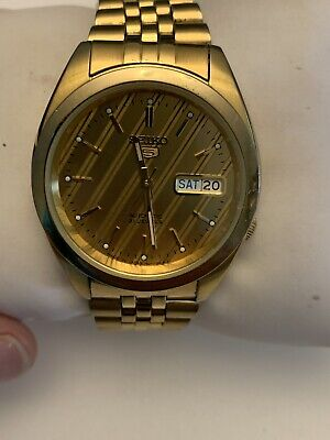$ CDN175 • Buy Seiko 5 21 Jewels Skeleton Watch 7S26 0772 Automatic Keeps Good Time Gold Tone
