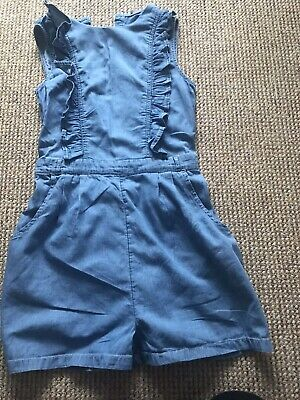 Girls Age 11-12Denim Short Dungarees Frill Button Fastening Lovely Design George • 7£