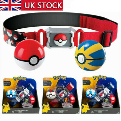 Pikachu Clip N GO Carry Poke Ball Toys Cross Belt Game Kids Gift  Action Figure • 14.99£