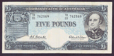 AU44.95 • Buy 1960 Australia 5 Pounds £5 Coombs/Wilson ***Reserve Bank*** R.50