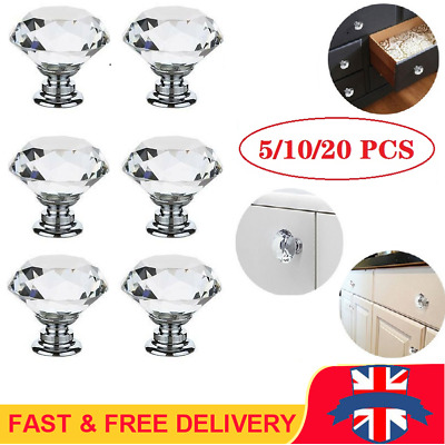 Door Knobs Cupboard Drawer Furniture Handle Diamond Glass Clear Crystal Cabinet • 6.99£