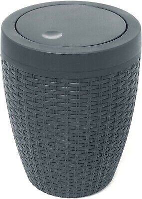 Addis Faux Rattan Round Swing Lid Bathroom Bin Charcoal • 18.99£