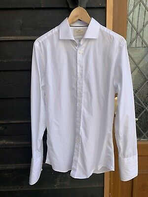 """Mens White Hawes And Curtis Shirt 15.5"""" Double Cuff Extra Slim Fit • 4.20£"""