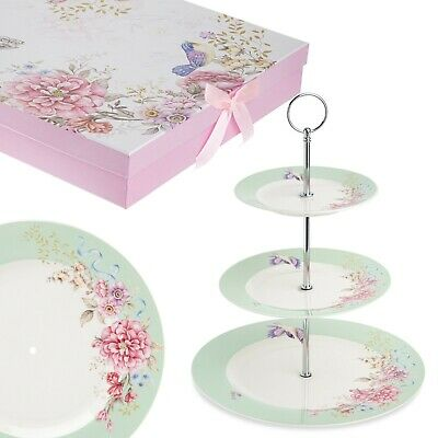 3 Tiered Wedding Party Cake Stands Tea Porcelain Bird Rose Butterfly In Gift Box • 22.75£