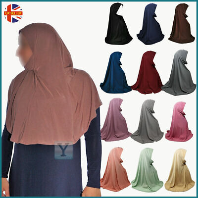 One Piece Hijab With Chin Cover Jersey Scarf Pull On Ready Made Instant Niqab • 5.90£
