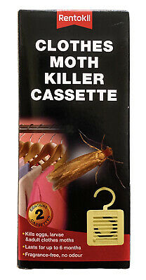 2 X Rentokil Clothes Moth Killer 6 Months Cassette, Hangable Freshens Clothing • 5.95£