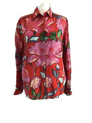 & Other Stories Silk Floral Print Shirt Blouse Top UK 12 Tropical Rainbow • 20£