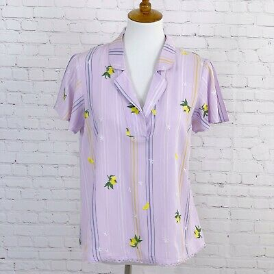 $ CDN33.02 • Buy Anthropologie Top Womens Size Small Embroidered Purple With Lemons O