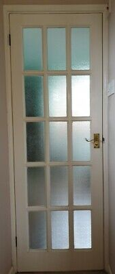 £15 • Buy Interior Wood Door White With Frosted Glass Panels Brass Handles W/lock Woking