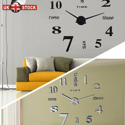 DIY 3D Frameless Number Wall Clock Mirror Sticker Home Office Room Decor Large • 8.85£
