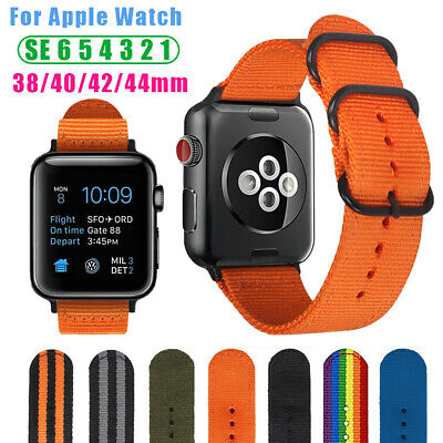AU9.99 • Buy Military Woven Nylon Watch Strap For Apple Watch Band 42/44mm Series SE 6 5 4 3