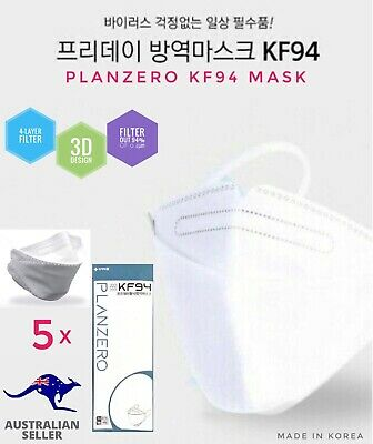 AU27.50 • Buy *5 PACK* Planzero KF94 Face Mask Reusable 4-Layer Filtered KOREA (AU STOCK)