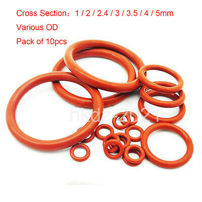 1-5mm CS  Various OD Food Grade Silicone Rubber Red O Rings Washers - Pack Of 10 • 0.99£