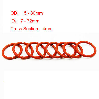 4mm CS Food Grade Silicone Red O Rings Sealing Washers 15 - 80mm OD (ID 7-72mm) • 1.35£