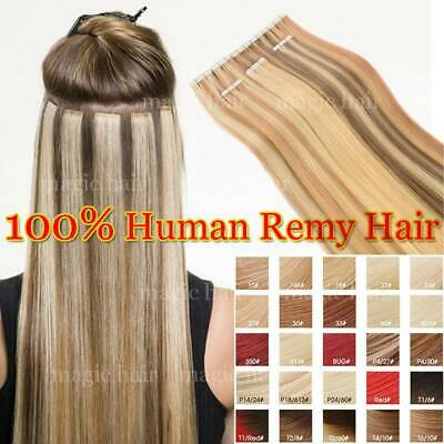 Russian Tape In Full Head 100% Remy Human Hair Extensions THICK 16 -22  UK B910 • 27.42£