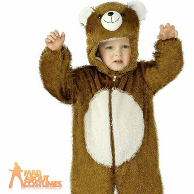 Kids Plush Bear Costume Jumpsuit Animal Book Day Week Fancy Dress Outfit Age 4-6 • 12.49£