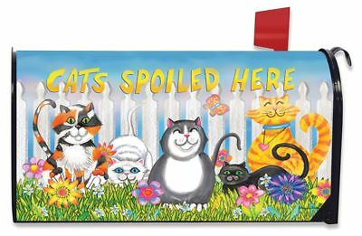 $16.99 • Buy Cats Spoiled Here Spring Magnetic Mailbox Cover Floral Humor Briarwood Lane