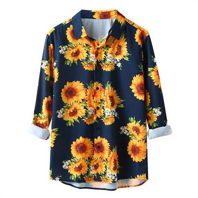 Mens Hawaii Sunflower Print T-Shirts Summer Travel Beach Long Sleeve Tunic Tops • 13.19£
