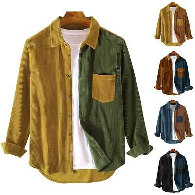 Mens Autumn Fashion Colourblock Shirts Casual Long Sleeve Buttons Tunic Tops UK • 14.69£