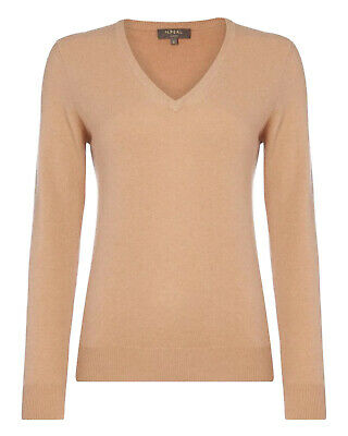N.Peal Beige Cashmere Knit V Neck Jumper Sweater Size M Medium • 63£