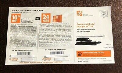 $9.99 • Buy  Home Depot Coupon - 10% Off Or Up To 24 Months Financing Valid Now To 10/7/20