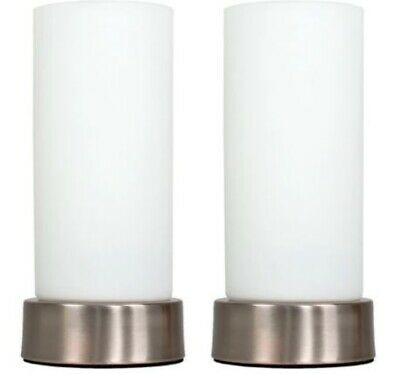 Modern White Pair Of Chrome White Glass Touch Bedside Dimmable Table Lamps 24cm • 31.99£