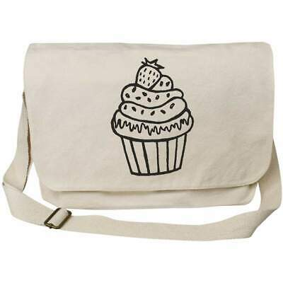 'Cupcake With Strawberry' Cotton Canvas Messenger Bags (MS003465) • 14.99£