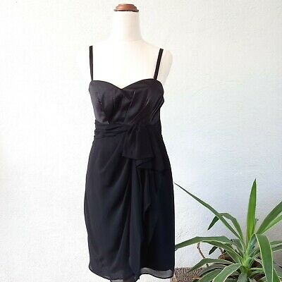 AU25 • Buy Barkins NWT Party Cocktail Black Dress Gathered Front Womens Size 10