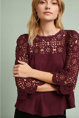 $ CDN46.18 • Buy Anthropologie Eri + Ali Size Small Marigold Lace Top Burgundy 3/4 Sleeve New NWT