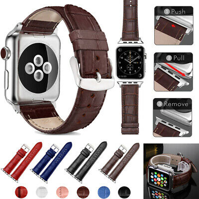 $ CDN9.32 • Buy For Apple Watch Series 6 5 4 3 2 Leather Band Bracelet Strap 38mm/40mm/42mm/44mm