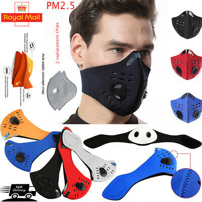 UK Reusable Washable PM2.5 Two Air Vent With Filter Anti Pollution Face Mask • 3.99£