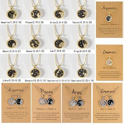 12Constellation Day & Night Zodiac Sign Star Gold Silver Necklace Pendant Choker • 1.69£
