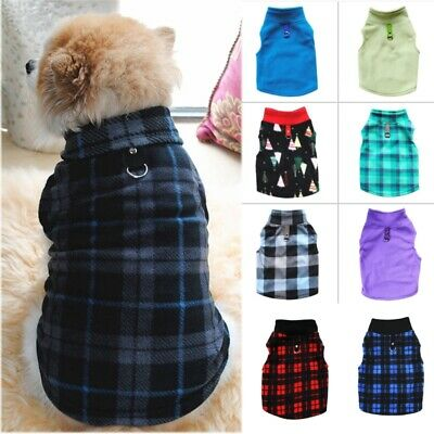 Pet Dog Warm Fleece Sweater Shirt Harness Vest Puppy Jumper Coat Jacket Apparel • 6.99£