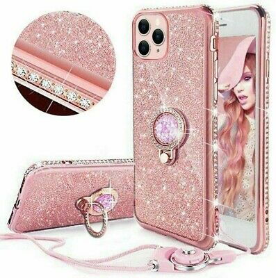 For IPhone 11 6s X 8 7 Diamond Ring Stand Bling Glitter TPU Case Cover & Lanyard • 4.49£