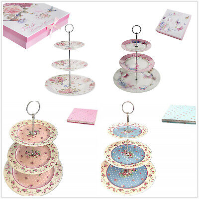 3 Tiered Afternoon Tea Cake Stands Porcelain Bird Rose Butterfly In Gift Box • 20.75£