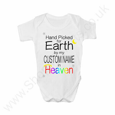 Hand Picked For Earth Custom Name Personalised Baby Grow - Rainbow Baby • 6.95£