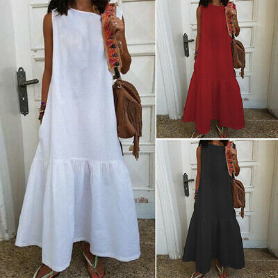 AU14.34 • Buy AU STOCK ZANZEA Women Sleeveless Long Maxi Sundress Flare CaDress Slip Dress